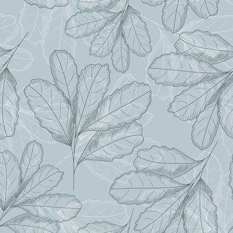 Patrón sin fisuras de hoja vintage. dibujado a mano hojas de papel tapiz.