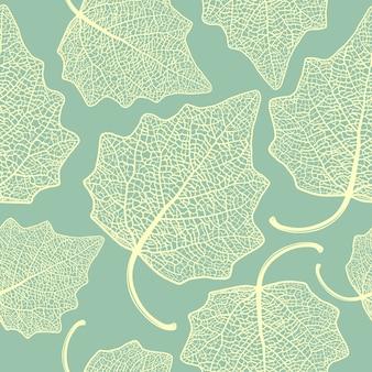 Patrón sin fisuras con hojas de álamo esqueletizadas.