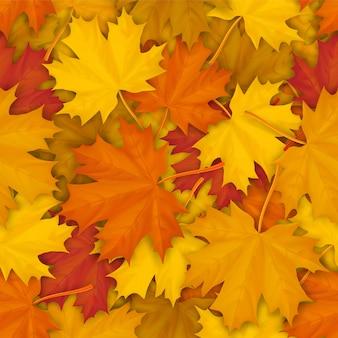 Patrón sin fisuras con hojas de arce caídas otoñales.