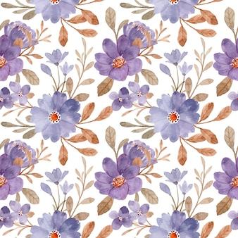 Patrón sin fisuras con hojas marrones y florales púrpuras