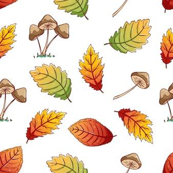 Patrón sin fisuras de hojas de otoño y setas con estilo de dibujo colorido