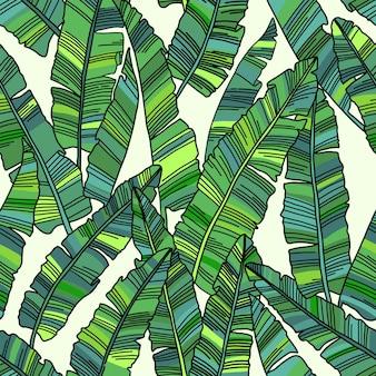 Patrón sin fisuras de hojas de palmeras tropicales.