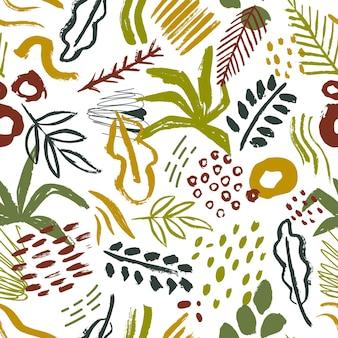 Patrón sin fisuras con hojas tropicales abstractas y manchas de pintura