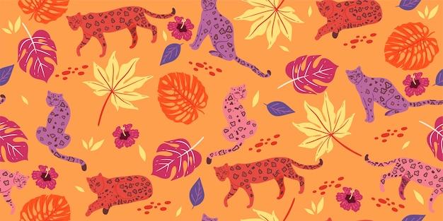 Patrón sin fisuras con hojas tropicales y leopardos.