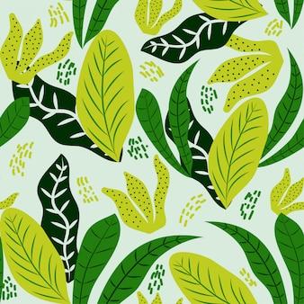 Patrón sin fisuras de hojas tropicales oscuras y verdes