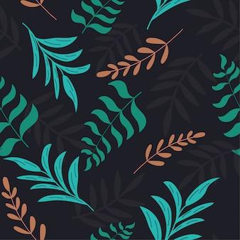 Patrón sin fisuras con hojas tropicales en un patrón oscuro