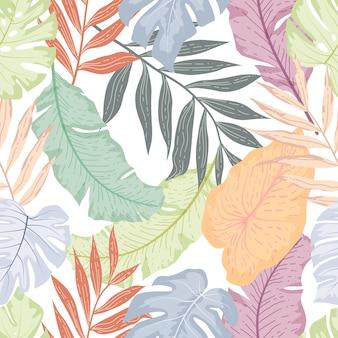 Patrón sin fisuras de hojas tropicales