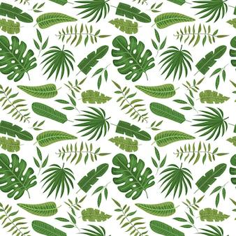 Patrón sin fisuras con hojas tropicales