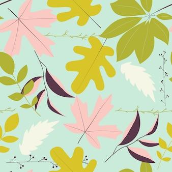 Patrón sin fisuras con hojas