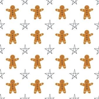 Patrón sin fisuras con hombre de pan de jengibre y estrellas sobre un fondo blanco. ilustración vectorial.