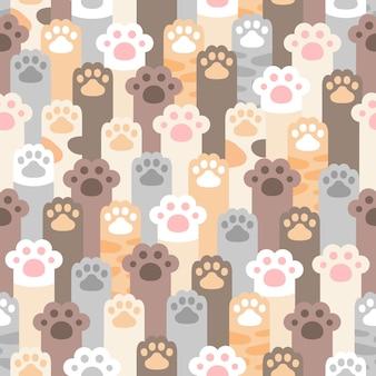 Patrón sin fisuras de huella de pata de gato