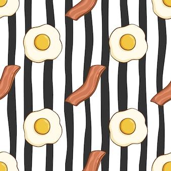 Patrón sin fisuras de huevo y tocino con estilo doodle de color