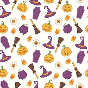 Patrón sin fisuras con iconos de colores de halloween
