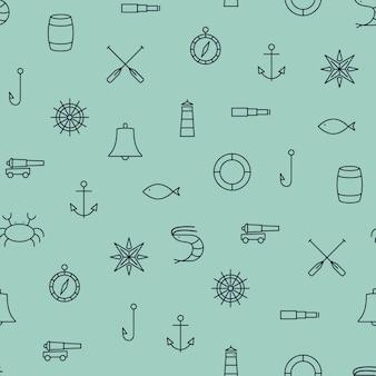 Patrón sin fisuras de los iconos de línea de barco y mar