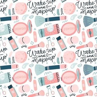 Patrón sin fisuras con los iconos de maquillaje colorido estilo plano. ilustraciones dibujadas a mano de diferentes artículos cosméticos sobre fondo blanco con letras dibujadas a mano