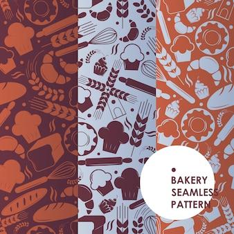 Patrón sin fisuras de los iconos de panadería, símbolos bakehouse, pan fresco y pasteles sabrosos,
