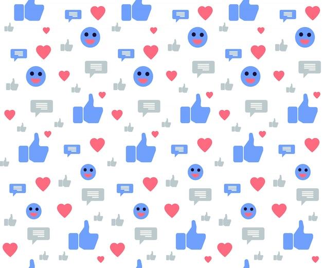 Patrón sin fisuras con los iconos de redes sociales en blanco