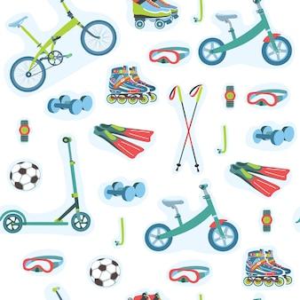 Patrón sin fisuras de la ilustración del conjunto de equipamiento deportivo