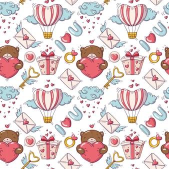 Patrón sin fisuras con la ilustración del día de san valentín