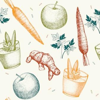 Patrón sin fisuras con ilustración de dibujado a mano tinta de batido de verduras. batido de verduras fondo vintage receta de bebida saludable