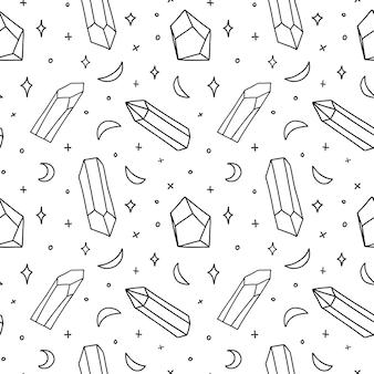 Patrón sin fisuras con ilustración de gemas y medias lunas
