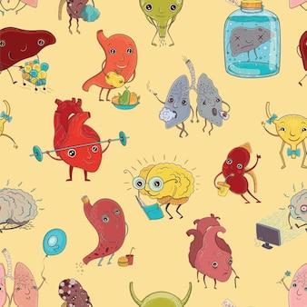 Patrón sin fisuras con ilustración de órganos humanos sanos y enfermos