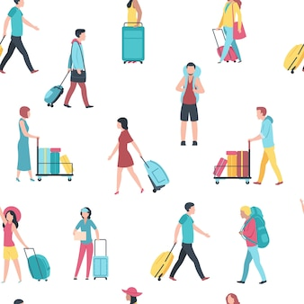 Patrón sin fisuras con ilustración de personas de viaje