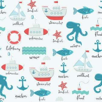 Patrón sin fisuras de ilustraciones marinas de elementos lindos y nombre de letras en inglés