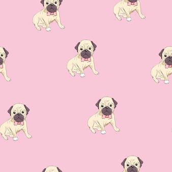 Patrón sin fisuras con la imagen de una caricatura divertida pugs cachorros sobre un fondo azul. ilustración.