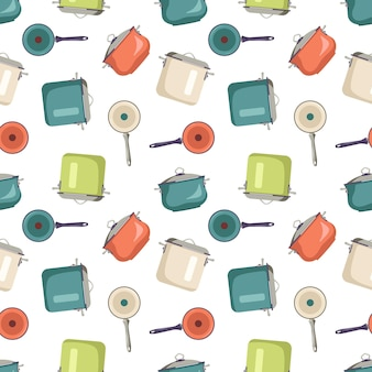 Patrón sin fisuras con impresión de cocina ollas y sartenes con utensilios para cocinar artículos de cocina en el fondo