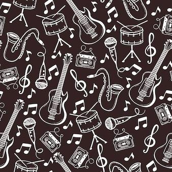 Patrón sin fisuras con instrumentos musicales en estilo doodle.