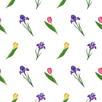 Patrón sin fisuras de iris y tulipanes, estampado de flores con hojas verdes, decoraciones navideñas