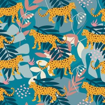 Patrón sin fisuras con un jaguar entre plantas tropicales sobre un fondo verde en un estilo plano