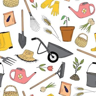 Patrón sin fisuras de jardín. herramientas y plantas de jardín. vector de color dibujado a mano