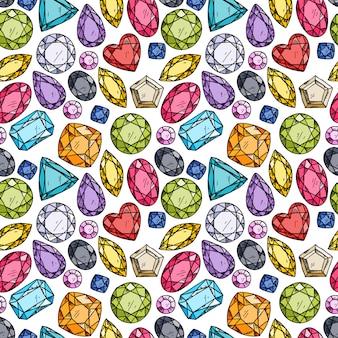 Patrón sin fisuras de joyas de colores.