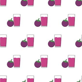 Patrón sin fisuras de jugo de mangostán sobre un fondo blanco. ilustración de vector de tema de mangostán