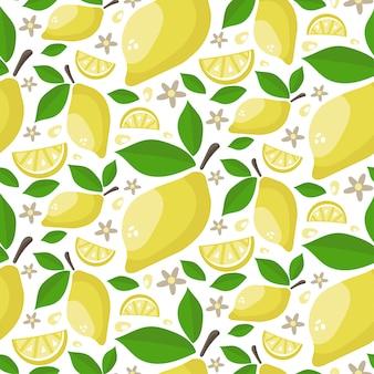 Patrón sin fisuras de jugosos limones maduros con hojas y flores.