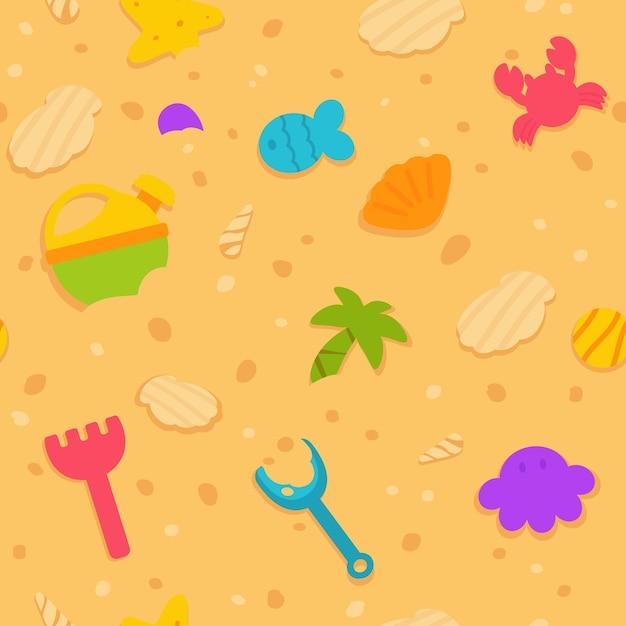 Patrón sin fisuras de juguetes en la arena de la playa ilustración de vector de estilo plano