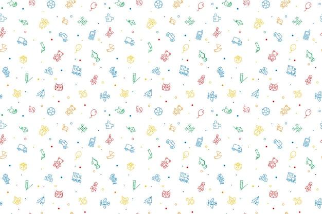 Patrón sin fisuras de juguetes para niños. fondo de bebé, ilustración vectorial.
