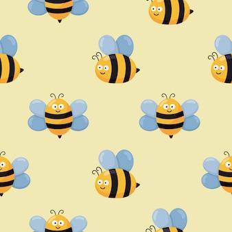 Patrón sin fisuras kawaii cute baby bee cartoon. vector de ilustración