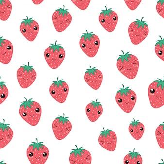 Patrón sin fisuras de kawaii fruta fresa feliz