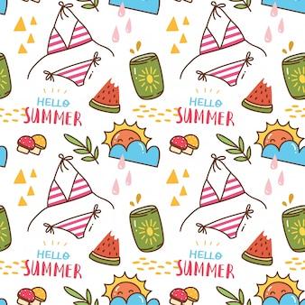 Patrón sin fisuras kawaii con temas de verano