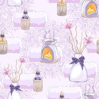 Patrón sin fisuras con lámpara de aroma, palitos de aroma, aceite esencial y mandala.