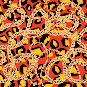 Patrón sin fisuras de leopardo con cadena de oro