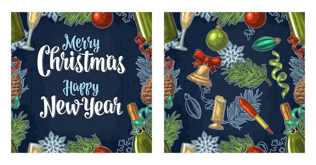 Patrón sin fisuras con letras de caligrafía de feliz navidad feliz año nuevo grabado vintage vector