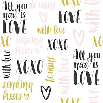 Patrón sin fisuras con letras románticas.