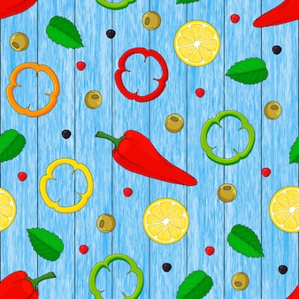 Patrón sin fisuras de limones dibujados a mano, hojas, pimienta. fondo de madera azul.