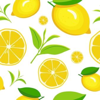 Patrón sin fisuras con limones en estilo de dibujos animados