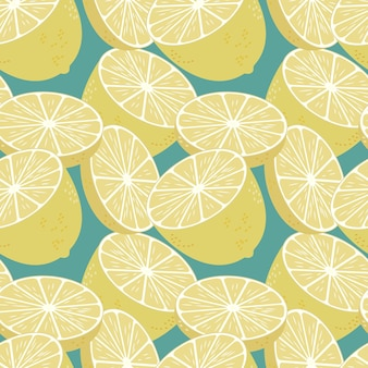Patrón sin fisuras con limones frescos fondo colorido de frutas sin fin