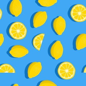 Patrón sin fisuras de limones con frutas frescas.